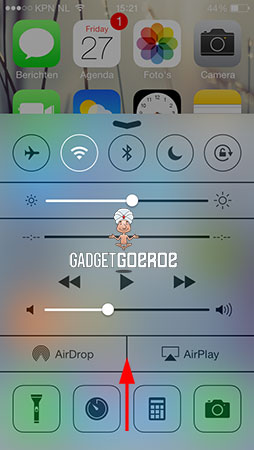 control center ios 7 slepen